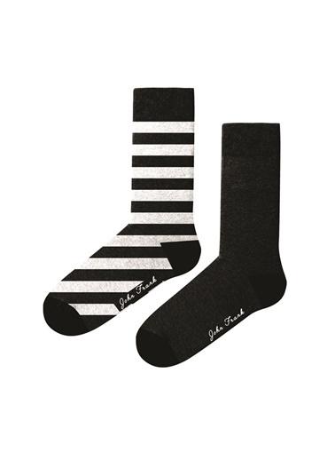 John Frank John Frank WJF2LS19-07 Çok Renkli ÇizgiDesenli Kadın Çorap Renkli